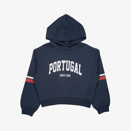 """Sweat Court à Capuche Força Portugal """"Poortugal Since 1999"""" JR (Fille)"""